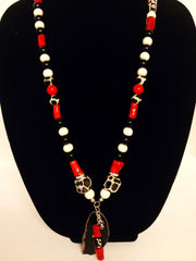 Black , Red and White Necklace