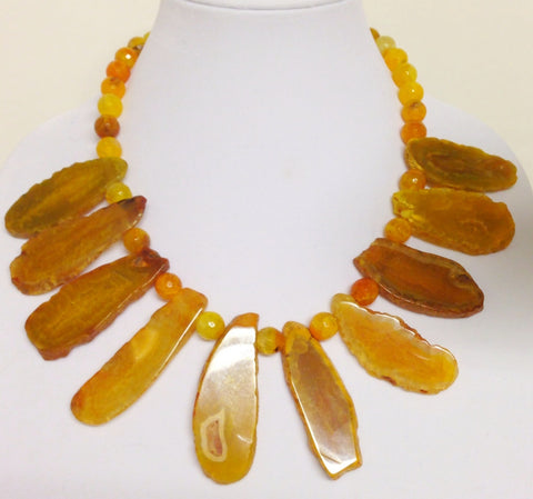 Amber-Colored Bib Necklace