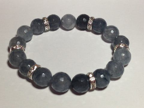 Gray Agate Bracelet with Pave Accents