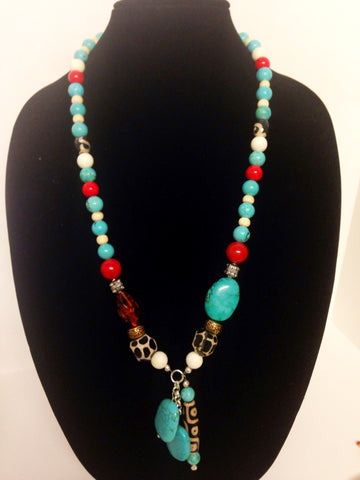 Turquoise, White, and Red Necklace