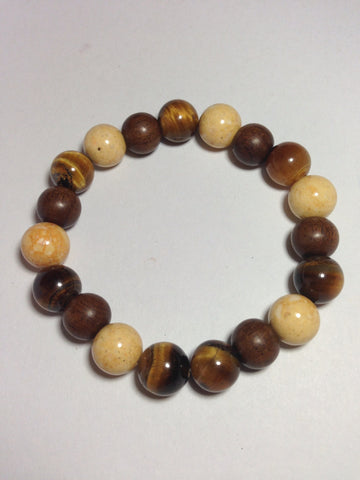 Men's Tiger's Eye and Wood Stretch Bracelet