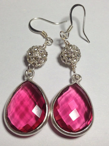 Hot Pink Quartz Earrings with Pave Ball Accents