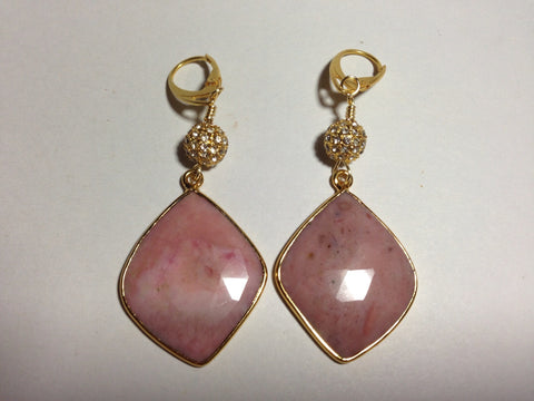 Pink Rutilated Quartz Earrings with Pave Ball Accents