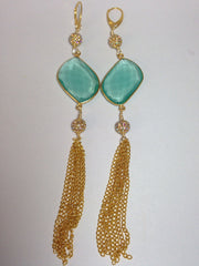 Green Quartz Tassel Earrings with Pave Accents