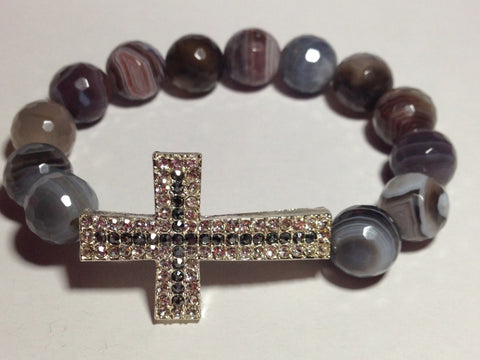 Gray Marbled Agate Bracelet with Cross