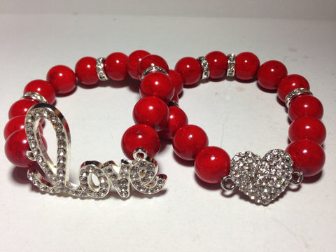 "Red ""Love"" Bracelet Set"