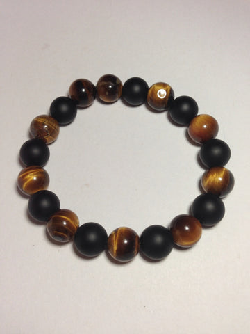Men's Tiger's Eye and Matte Onyx Stretch Bracelet