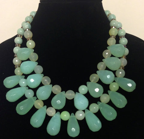 Sea Foam Green Quartz Bib Necklace