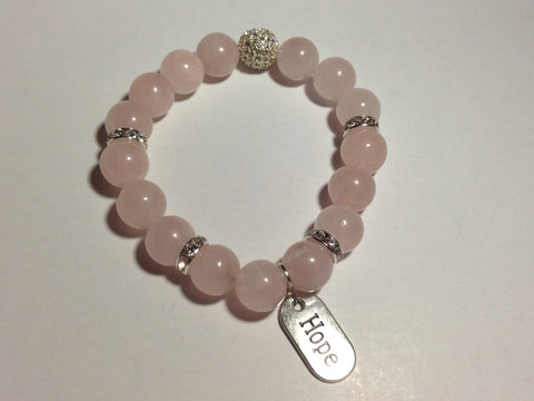 Breast Cancer Awareness Bracelet with pave accents and hope charm