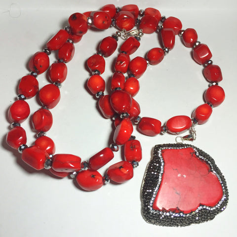 Red Coral and Silver Crystal Necklace