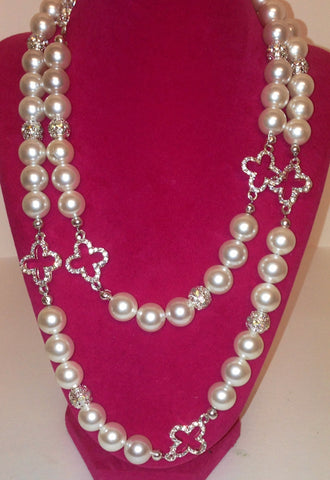 Pearl Necklace with Crystal Accents