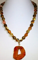 Amber-Colored Agate Pendant Necklace