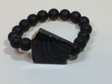 Men's Matte Onyx Bracelet with Agate Center Stone