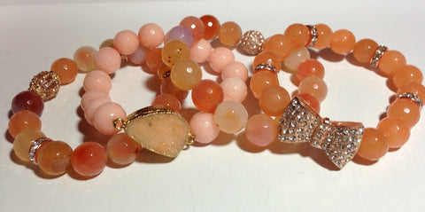 Peach Bracelets with Rose Gold-toned Accents