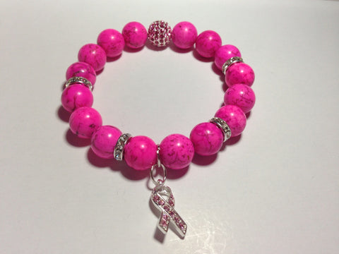 Breast Cancer Awareness Bracelet With Pink Pave Ball