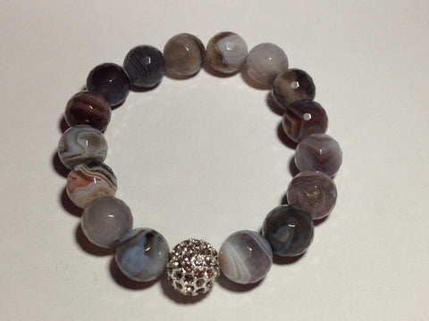 Gray Marbled Agate Bracelet with Pave Ball