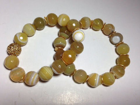 Yellow Agate Stretch Bracelets with Brass Accents