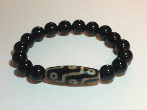 Men's Matte Onyx Bracelet with African-Print Center Bead