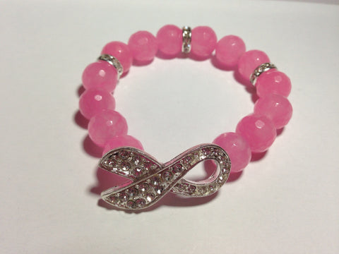 Breast Cancer Awareness Bracelet with Silver Pave Ribbon Connector