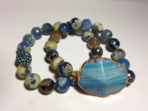 Blue and Yellow Agate Stretch Bracelets