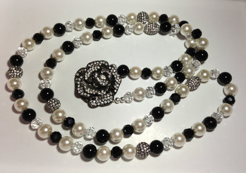 Pearl and Onyx Flower Necklace