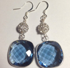 Blue Quartz Earrings with Pave Ball Accents