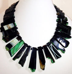Black Agate Bib Necklace With Green Accents