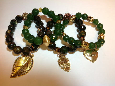 Set of Green Jade and Agate Bracelets