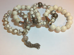 White Turquoise and Agate Stretch Bracelets with Silver Accents