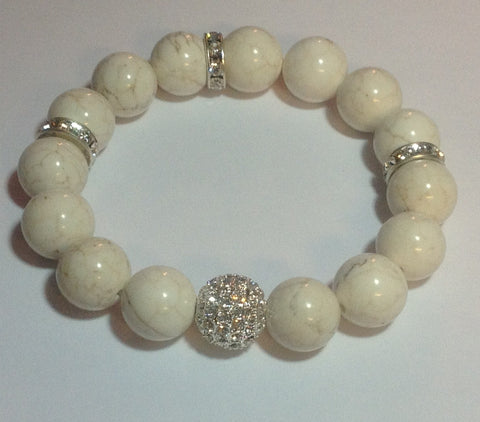 White Turquoise Stretch Bracelet with Pave Center Bead