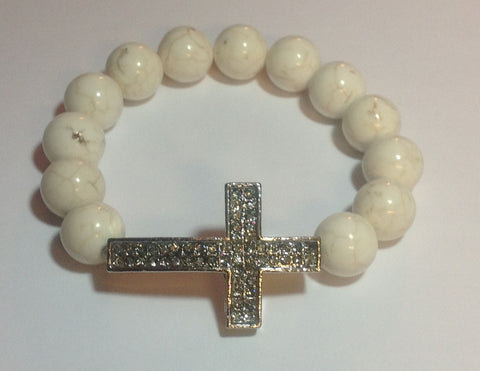 White Turquoise Stretch Bracelet with Cross