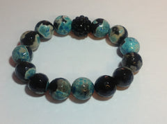 Blue and Black Agate Bracelet