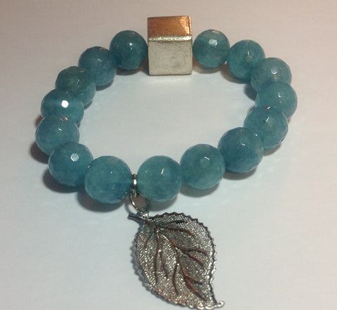 Blue Jade Bracelet with Silver Accents