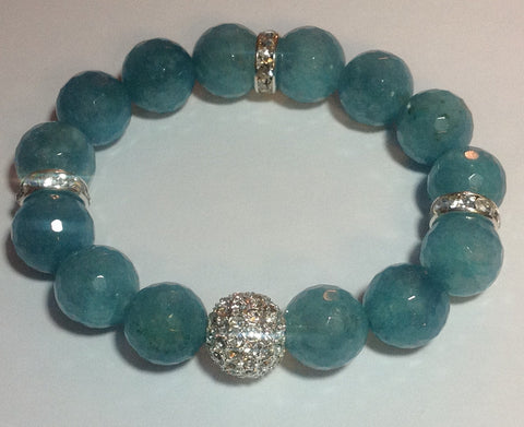 Blue Jade Bracelet with Silver Pave Accents
