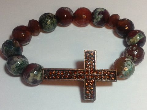 Green and Brown Agate Bracelet with Bronze Pave Cross