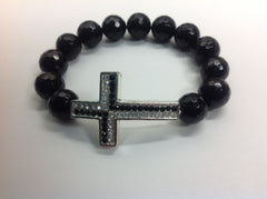 Black Onyx Bracelet with Silver, Black and White Pave Cross