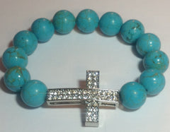 Blue Turquoise Stretch Bracelet with Silver Pave Cross