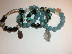 Blue and Black Stretch Bracelets with Silver Accents