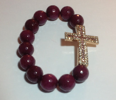 Burgundy Agate Bracelet with Silver Pave Cross
