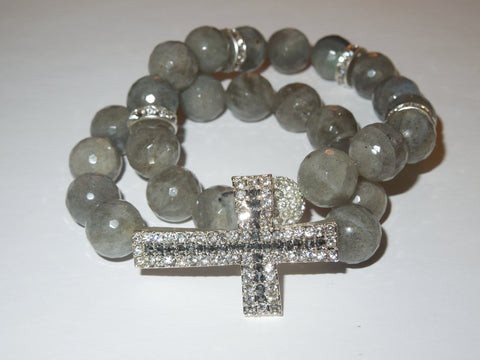 Labradorite Bracelets with Pave Accents