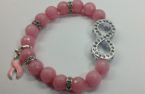 Breast Cancer Awareness Bracelet with Pave Infinity Loop Accent