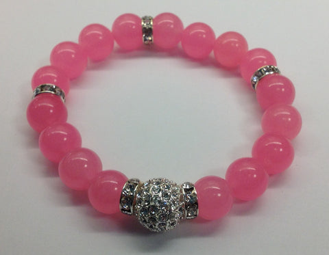 Pink Stretch Bracelet with Pave Center Ball