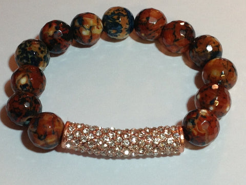 Burnt Orange/Multi-Colored Agate Stretch Bracelet with Pave Bar