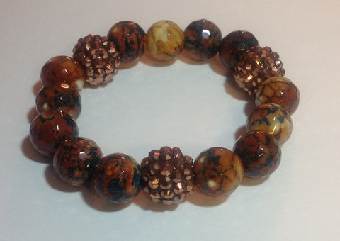 Burnt Orange/Multi-Colored Agate Stretch Bracelet
