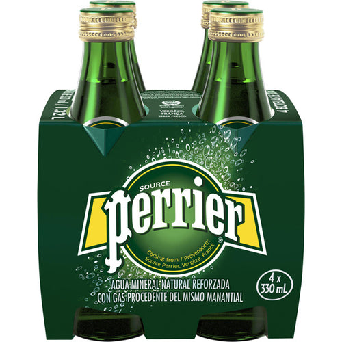 Perrier agua mineral con gas pack 4 botellas 33 cl