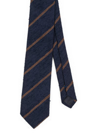 AN IVY Navy Brown Striped Shantung Tie