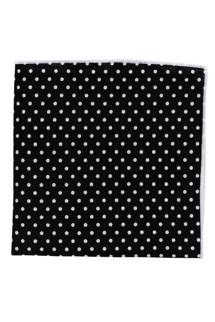 An ivy Pocket square Black Polka Pocket