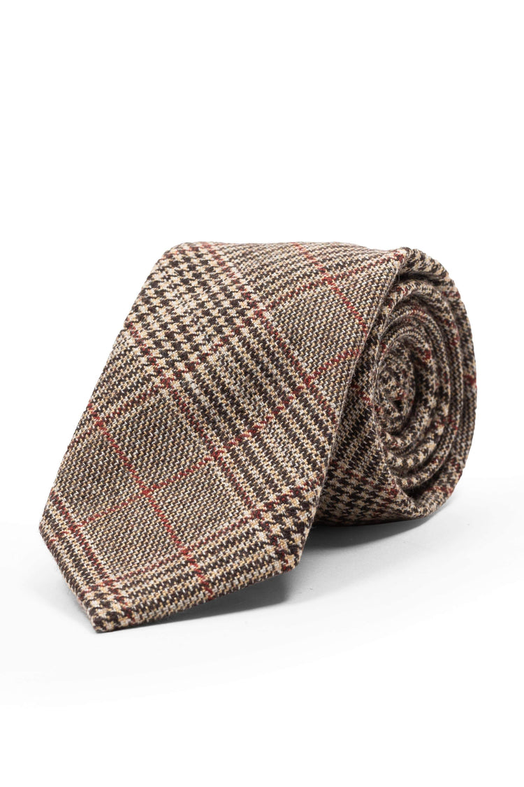 An ivy Slips Brown Prince Wool Tie