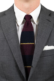 AN IVY Slips Burgundy Navy Silk Knit Tie
