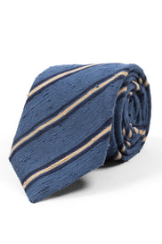 AN IVY Slips Dusted Blue Striped Shantung Tie